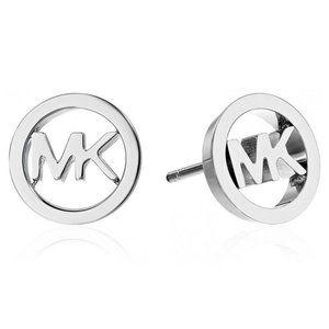 New Michael Kors Silver Logo Cut Off Stud Earrings